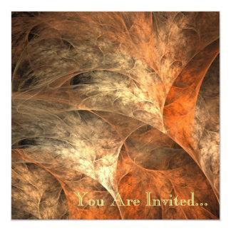 秋の豊かさのフラクタルの芸術 13.3 スクエアインビテーションカード