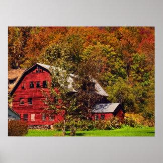 秋の赤い納屋 ポスター