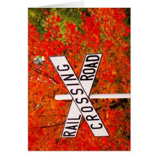 秋の踏切 カード