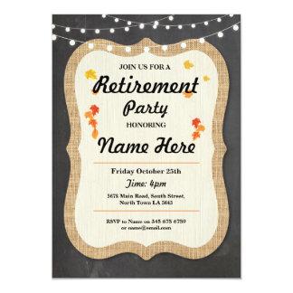 秋の退職パーティーの素朴で退職したなチョークの招待 カード