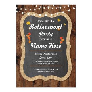 秋の退職パーティーの素朴で退職したな木製の招待 12.7 X 17.8 インビテーションカード