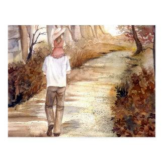 秋の道の水彩画の絵画 ポストカード