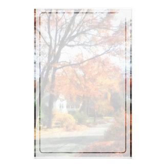 秋の郊外の通り 便箋