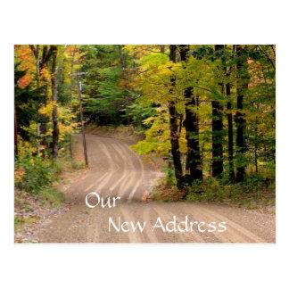 秋の郵便はがきの田園新しい住所田舎道 ポストカード