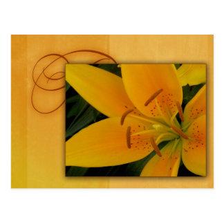 秋の金黄色いオニユリ ポストカード