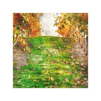 秋の間のNapa Valleyのブドウ園 キャンバスプリント