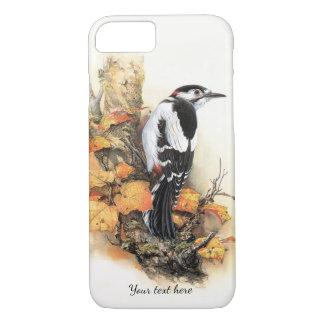 秋の鳥および葉のiPhone 7の場合 iPhone 8/7ケース