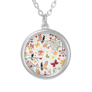 秋の鳥 シルバープレートネックレス