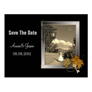 秋のautumのsteampunkの結婚式の保存日付 ポストカード