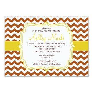 秋のBurtの黄色いシェブロンの招待状 カード