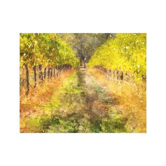 秋のNapa Valleyのブドウ園 キャンバスプリント