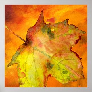 秋のOzias.による多彩な葉の水彩画 ポスター