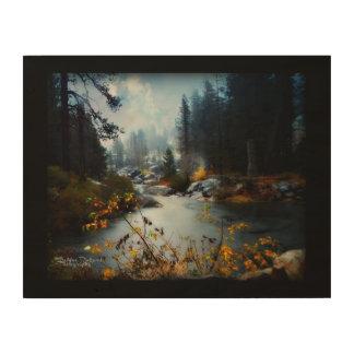 秋のPlumasの川 ウッドウォールアート