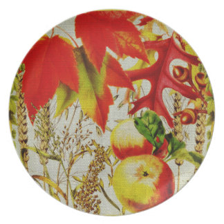 秋はバーラップの紅葉のフルーツの穀物を着色します プレート