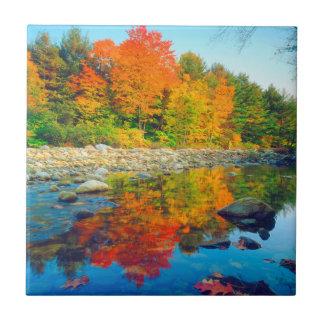 秋はヴァーモントの流れの反映を着色します タイル