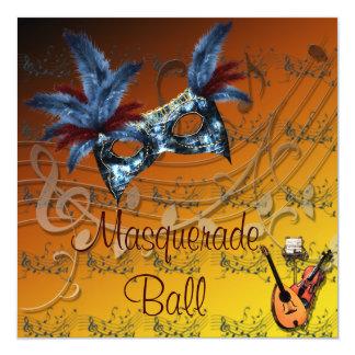 秋は仮面舞踏会の招待状を着色します カード