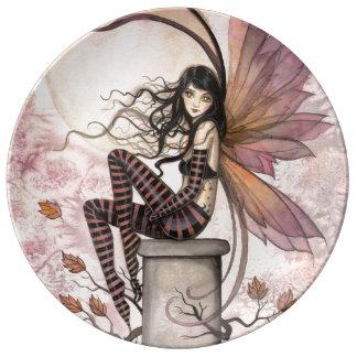 秋は妖精のファンタジーの芸術そよ吹きます 磁器プレート