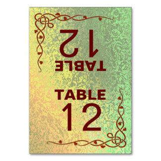 秋は緑の黄色を結婚します折られたテーブルカードを影で覆います カード