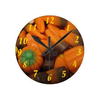 秋キャンデートウモロコシの時計 ラウンド壁時計