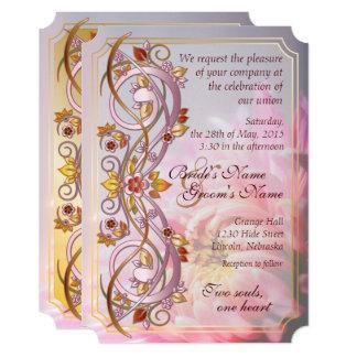 秋スクロール及びピンクの菊の結婚式の招待2 カード