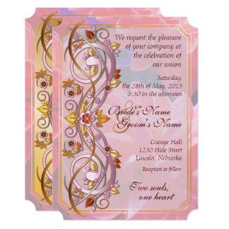 秋スクロール及びピンクの菊の結婚式の招待2B カード
