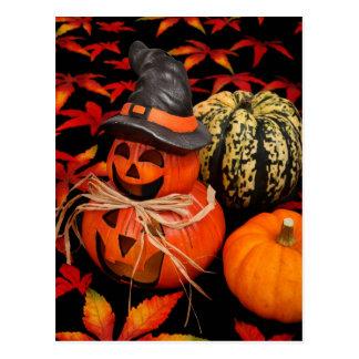 秋ハロウィーンのカボチャのちょうちん ポストカード