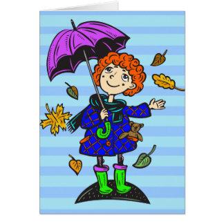 秋季の女の子 カード