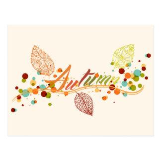 秋季の葉および泡構成 ポストカード