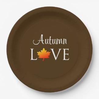 秋愛素朴な秋の結婚式のオレンジの葉 ペーパープレート