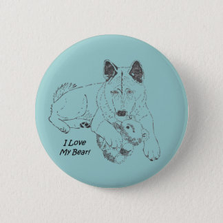 秋田かわいい犬およびテディー・ベアのスケッチのオリジナルの芸術 5.7CM 丸型バッジ