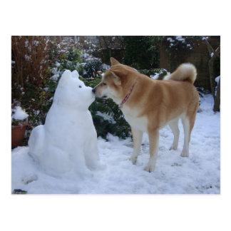 秋田のキスをするな雪だるまの秋田のかわいい写真 ポストカード
