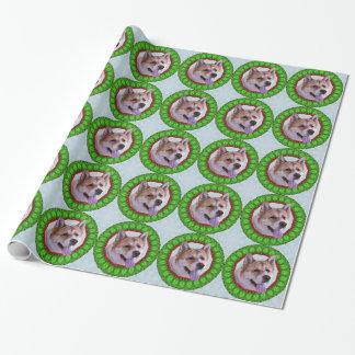 秋田のクリスマスのリースの包装紙 ラッピングペーパー
