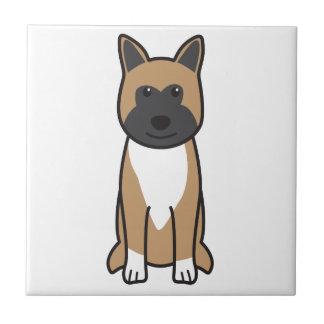 秋田犬の漫画 正方形タイル小