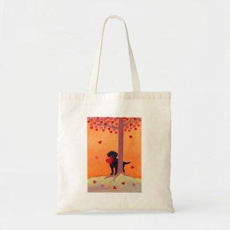 秋色の黒のラブラドール 鞄