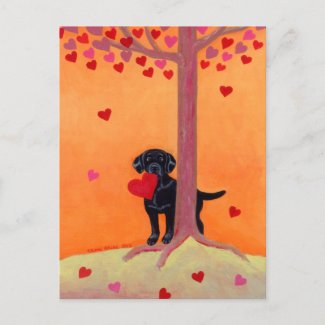 秋色の黒ラブラドル ポストカード