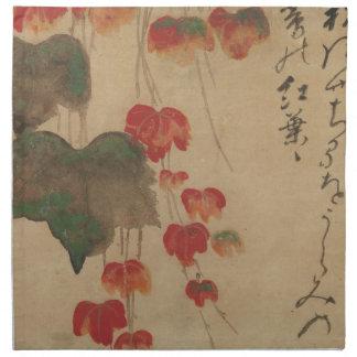 秋蔦、乾山の秋のキヅタ、Kenzanの日本芸術 ナプキンクロス