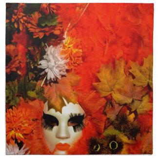 """""""秋""""の-寓話的なカーニバルのマスク ナプキンクロス"""