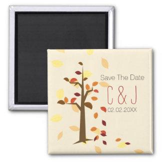 秋 木、 茶色 葉 救って下さい 日付 磁石 マグネット