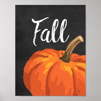 秋-黒板の感謝祭のカボチャ ポスター