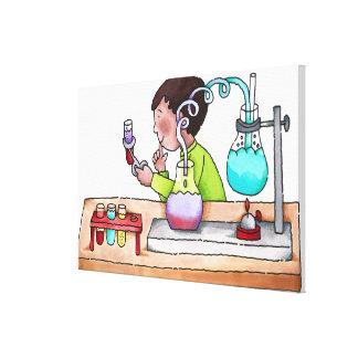 科学の実験をしている男の子 キャンバスプリント