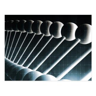 科学の概念としてDNAの螺旋形の抽象芸術の背景 ポストカード