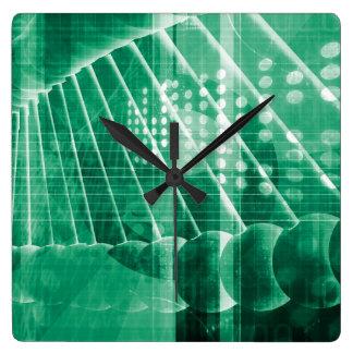 科学の芸術として薬剤の研究データ スクエア壁時計