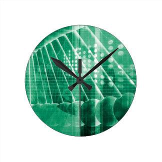 科学の芸術として薬剤の研究データ ラウンド壁時計