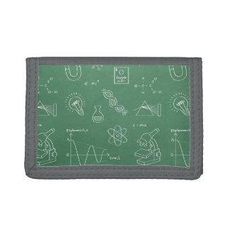 科学アイコン落書きパターンは財布をからかいます ナイロン三つ折りウォレット