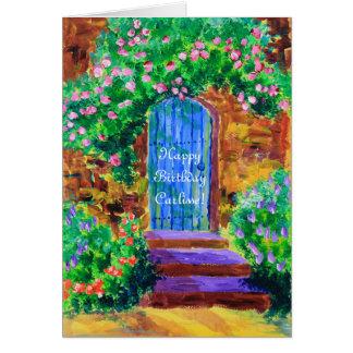秘密のバラ園への美しく青い木のドア カード
