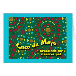 秘密の友達、カラフルなモザイクのためのCinco deメーヨー カード