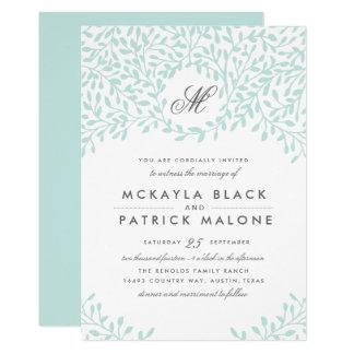 秘密の庭園の結婚式の招待-ミント カード