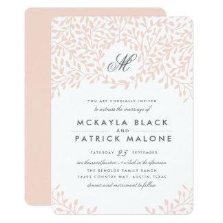 秘密の庭園の結婚式の招待-赤面 カード