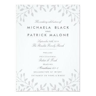 秘密の庭園の結婚式プログラム-灰色 14 X 19.1 インビテーションカード