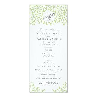 秘密の庭園の結婚式プログラム-緑 10.2 X 23.5 インビテーションカード